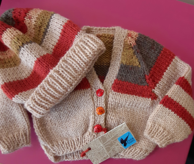 Newborn Hand-knitted Autumn Stripes Baby Set