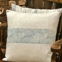 Decorative Hand Printed Cushion - Leaping Wild Hare