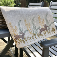 Hand Printed Linen Tea Towel - Meadow Hares