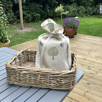 Hand Printed Linen Bread Bag - Swallow
