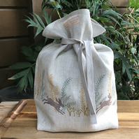 Hand Printed Linen Bread Bag- Meadow Hares