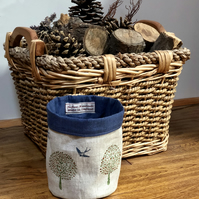 Hand Printed Linen Storage Pot-Swallows