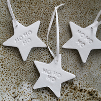 Simple white clay stars 'ho ho ho' set of 3 Christmas decorations tree hanging