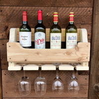 Rustic Wooden Wine Gin Rack - Natural