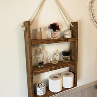 Rustic Hanging Ladder Shelf With Rope - Wall Mounted - Handmade