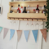 Rustic Wooden Wine Rack & Shelf - Wall Mounted - Natural