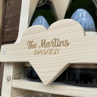 Rustic Engraved Wooden Wine Rack Heart Detail. Great Wedding Or Anniversary Gift
