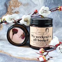 MY WEEKEND IS ALL BOOKED soy wax scented candle, librarian gift, booklover, book