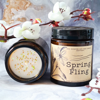 SPRING FLING soy wax daffodil flower scented 4oz candle in amber glass jar