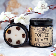COFFEE LOVER soy wax coffee mocha scented 4oz candle in amber glass jar