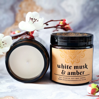 WHITE MUSK & AMBER soy wax scented 4oz candle in boho amber glass jar