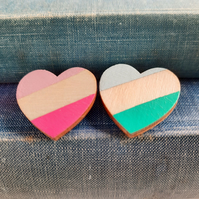 Wooden Heart Brooch Handpainted in Pinks or Greens