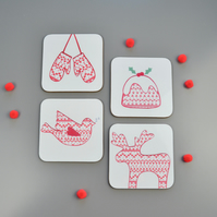 Set of Four Christmas Coasters