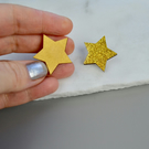 Mini Wooden Gold Star Pin