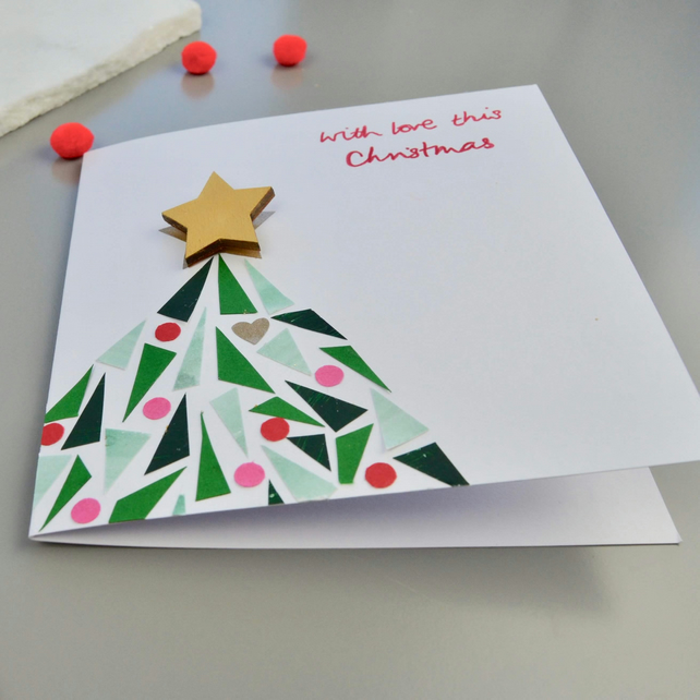 Christmas Card with Gold Star Brooch