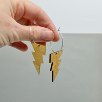 Silver hoop earrings with handpainted gold lightning bolt shapes