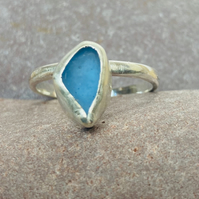 Sea glass ring, Seaham sea glass, silver jewellery, handmade, cornflower blue