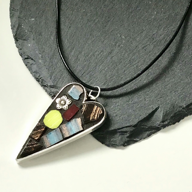 'Sunflower' mosaic pendant