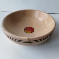 Sycamore Wood Bowl with Enamel Lava Flow Cabouchon 1058