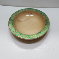 Sycamore Wood Green & Gold Iridescent Rim Bowl 1066
