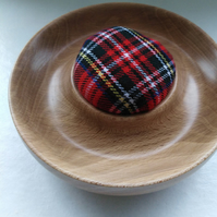 English Beech Wood Tartan Pin Cushion 1085