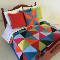 Miniature half square triangle doll's house quilt set