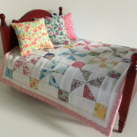 Miniature pinwheel doll's house quilt with 4 cushions