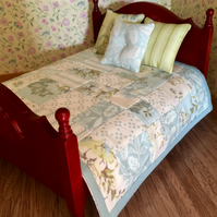 Patchwork doll's house quilt with three cushions