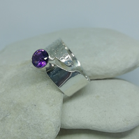 Adjustable Silver and Amethyst Ring