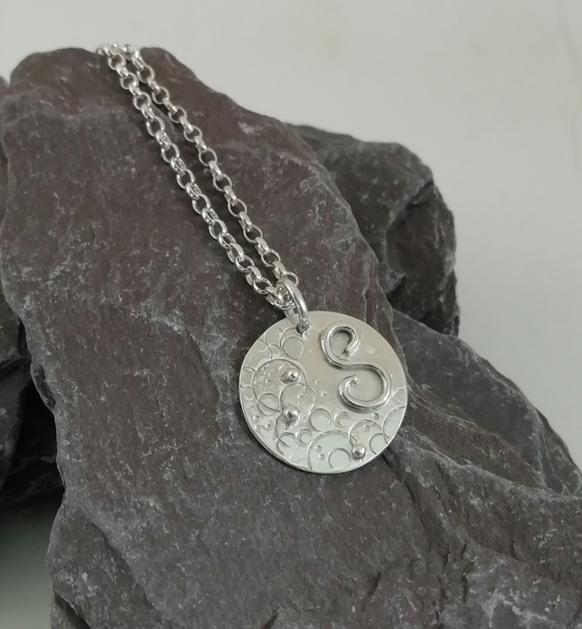 Handmade Silver Disc Initial Necklace