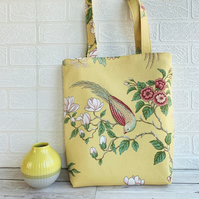 Bright exotic bird and floral print fabric tote bag