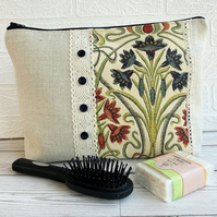 Toiletry bag with Tiffany Jewel Art Nouveau decorative panel