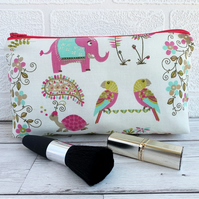Tropical animals and plants make up bag, cosmetic bag
