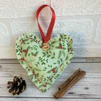 Pale sage green Christmas hanging heart decoration with holly and mistletoe