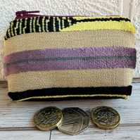 Small purse, coin purse with chenille stripes