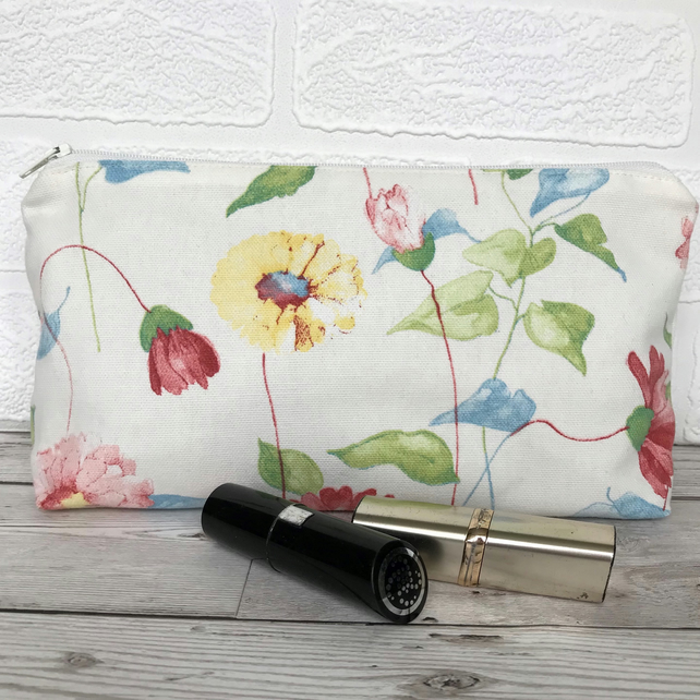 SALE, Cosmetic bag, make up bag in cream with pink and yellow floral print