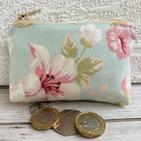 Small purse, coin purse with pink pastel floral pattern