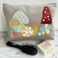 Snail and toadstools toiletry bag, wash bag in beige velvet