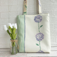 Alliums tote bag with lilac alliums and pale green stripe