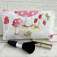 Toadstools and snail make up bag, cosmetic bag