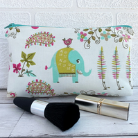 Elephant and tropical plants make up bag, cosmetic bag
