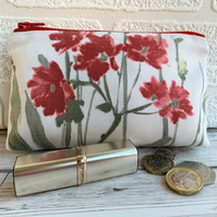 Large purse, coin purse in cottage garden print