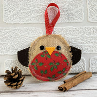 Rustic Christmas robin hanging decoration with red and green holly print