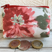 Small purse, coin purse with large red flower
