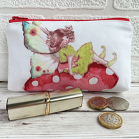 Large purse, coin purse with a fairy on a toadstool