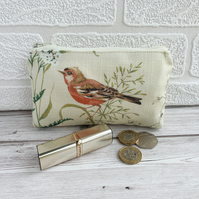 Large purse, coin purse with chaffinch and cow parsley