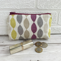 Large purse, coin purse with vibrant abstract wiggly stripes