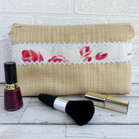 SALE Large cosmetic bag, make up bag with pink Roses trim