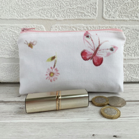 Large purse, coin purse with butterfly, bee and daisy