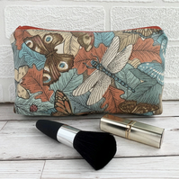 Make up bag, cosmetic bag with dragonfly, butterflies and a ladybird